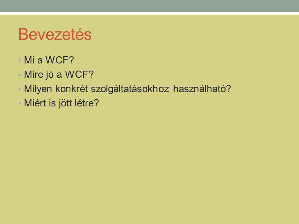 Bevezetés • Mi a WCF? • Mire jó a WCF? • Milyen konkrét szolgáltatásokhoz használható? • Miért is jött létre?