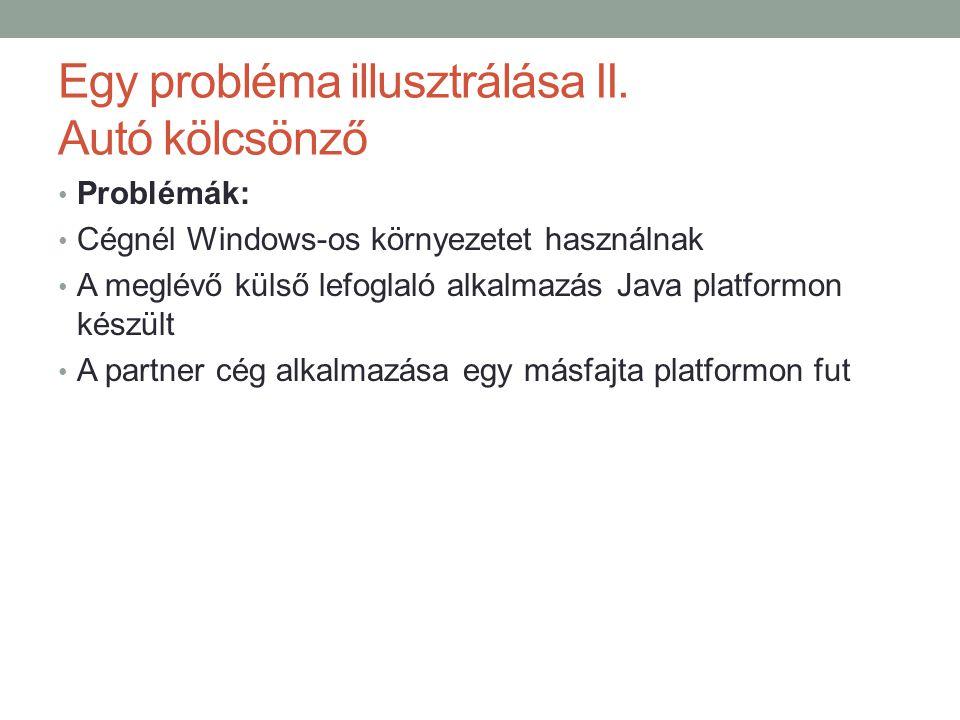 Egy probléma illusztrálása II. Autó kölcsönző • Problémák: • Cégnél Windows-os környezetet használnak • A meglévő külső lefoglaló alkalmazás Java plat