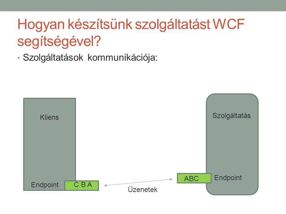 Hogyan készítsünk szolgáltatást WCF segítségével? • Szolgáltatások kommunikációja: Kliens Szolgáltatás Endpoint C B A ABC Üzenetek