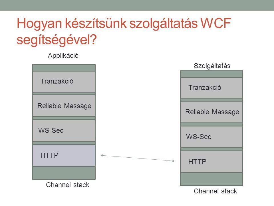 Hogyan készítsünk szolgáltatás WCF segítségével? Channel stack Tranzakció Reliable Massage WS-Sec HTTP Channel stack Szolgáltatás Tranzakció Reliable