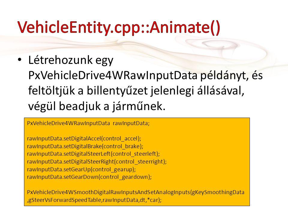 • Létrehozunk egy PxVehicleDrive4WRawInputData példányt, és feltöltjük a billentyűzet jelenlegi állásával, végül beadjuk a járműnek.