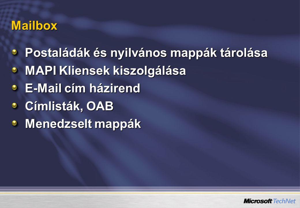 Mailbox Postaládák és nyilvános mappák tárolása MAPI Kliensek kiszolgálása E-Mail cím házirend Címlisták, OAB Menedzselt mappák