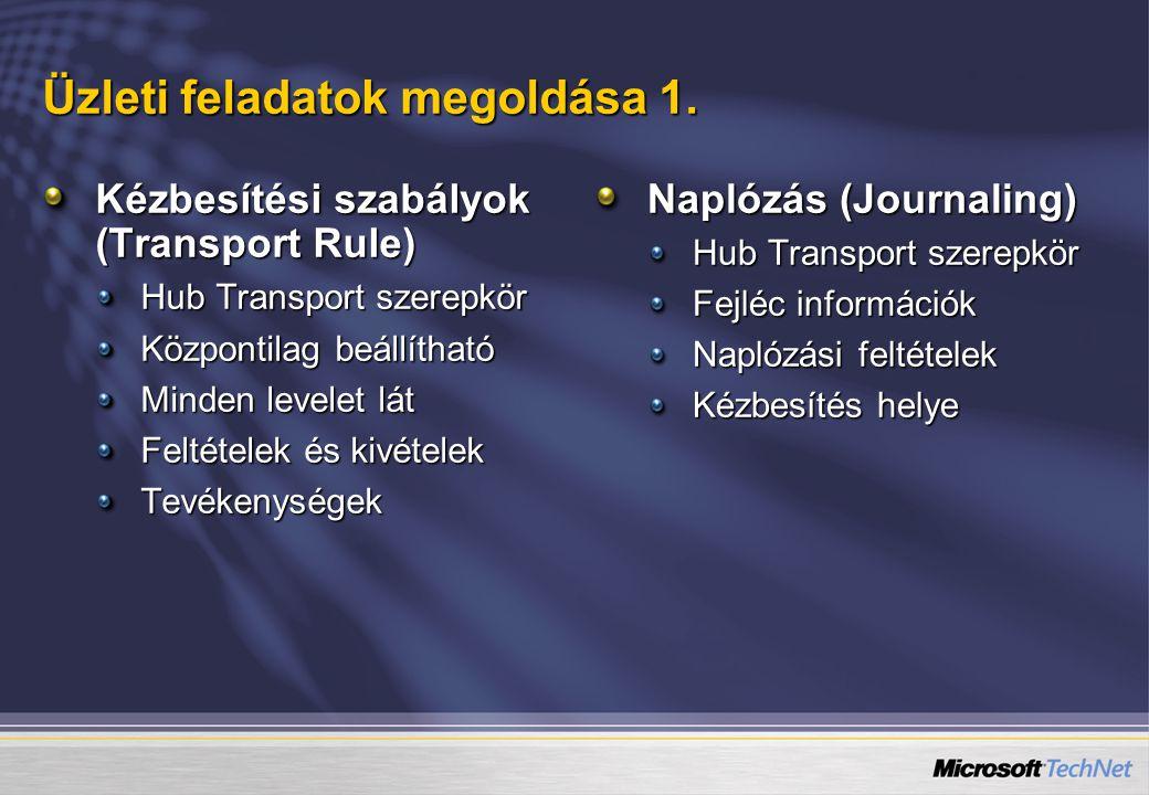 Üzleti feladatok megoldása 1. Kézbesítési szabályok (Transport Rule) Hub Transport szerepkör Központilag beállítható Minden levelet lát Feltételek és
