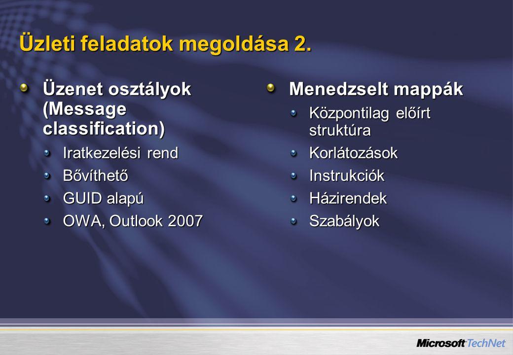 Üzleti feladatok megoldása 2. Üzenet osztályok (Message classification) Iratkezelési rend Bővíthető GUID alapú OWA, Outlook 2007 Menedzselt mappák Köz