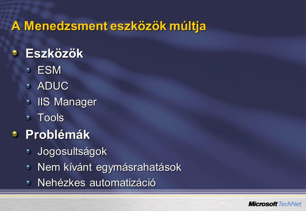 A Menedzsment eszközök múltja EszközökESMADUC IIS Manager ToolsProblémákJogosultságok Nem kívánt egymásrahatások Nehézkes automatizáció
