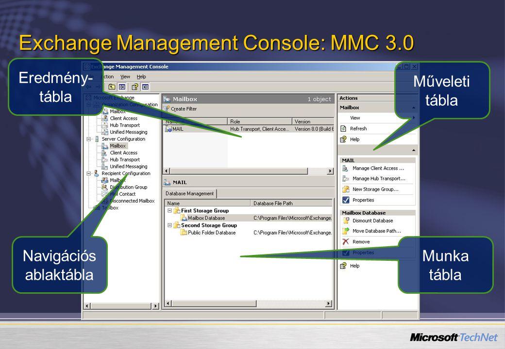 Exchange Management Console: MMC 3.0 Navigációs ablaktábla Eredmény- tábla Műveleti tábla Munka tábla