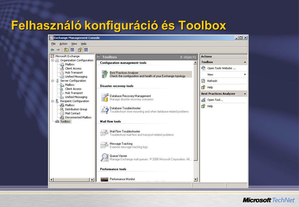 Felhasználó konfiguráció és Toolbox