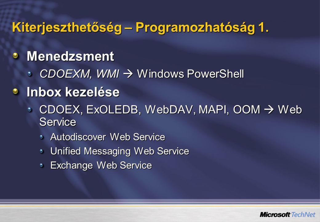 Kiterjeszthetőség – Programozhatóság 1. Menedzsment CDOEXM, WMI  Windows PowerShell Inbox kezelése CDOEX, ExOLEDB, WebDAV, MAPI, OOM  Web Service Au