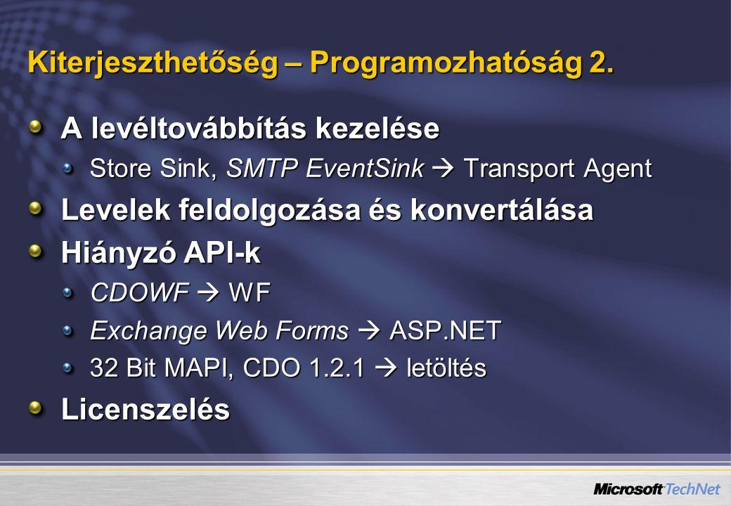 Kiterjeszthetőség – Programozhatóság 2. A levéltovábbítás kezelése Store Sink, SMTP EventSink  Transport Agent Levelek feldolgozása és konvertálása H