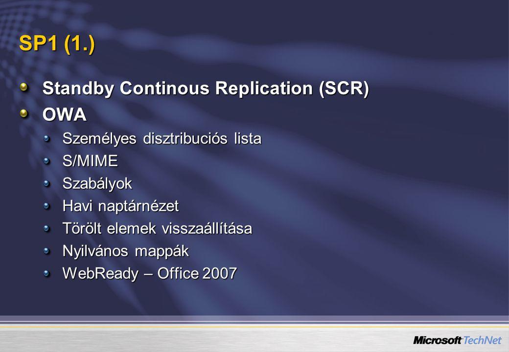 SP1 (1.) Standby Continous Replication (SCR) OWA Személyes disztribuciós lista S/MIMESzabályok Havi naptárnézet Törölt elemek visszaállítása Nyilvános mappák WebReady – Office 2007