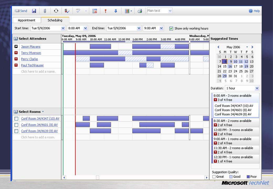 Friss élő adatok Javított biztonság Erőforrások kezelése Scheduling Assistant