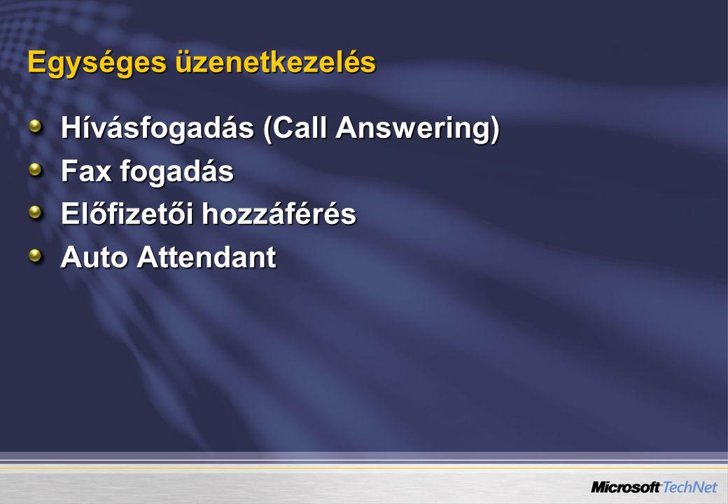Egységes üzenetkezelés Hívásfogadás (Call Answering) Fax fogadás Előfizetői hozzáférés Auto Attendant