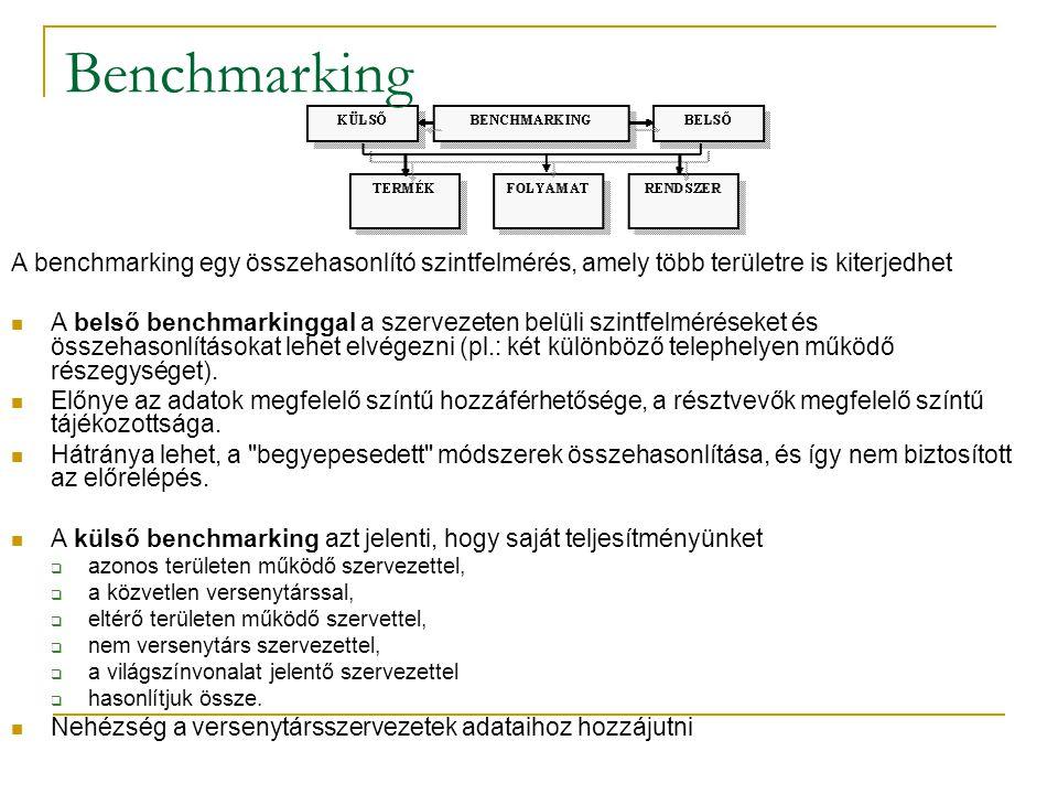 A benchmarking egy összehasonlító szintfelmérés, amely több területre is kiterjedhet  A belső benchmarkinggal a szervezeten belüli szintfelméréseket és összehasonlításokat lehet elvégezni (pl.: két különböző telephelyen működő részegységet).