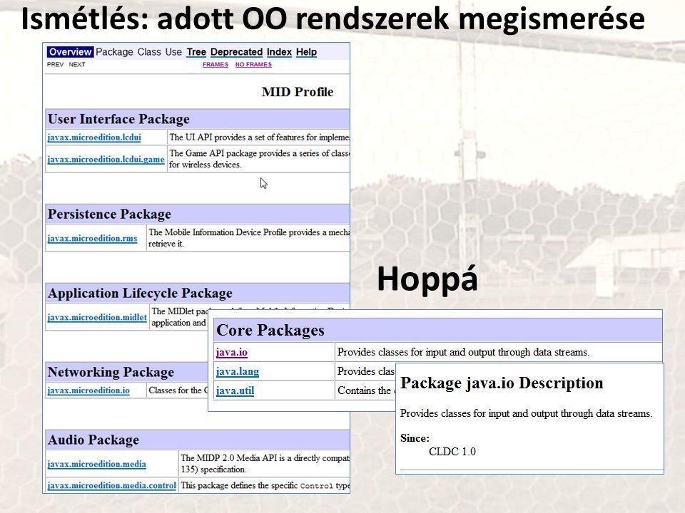Ismétlés: adott OO rendszerek megismerése Hoppá