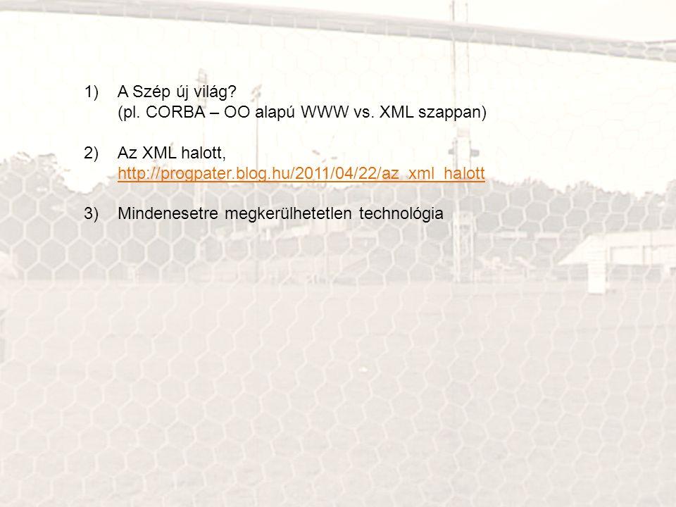 1)A Szép új világ? (pl. CORBA – OO alapú WWW vs. XML szappan) 2)Az XML halott, http://progpater.blog.hu/2011/04/22/az_xml_halott http://progpater.blog