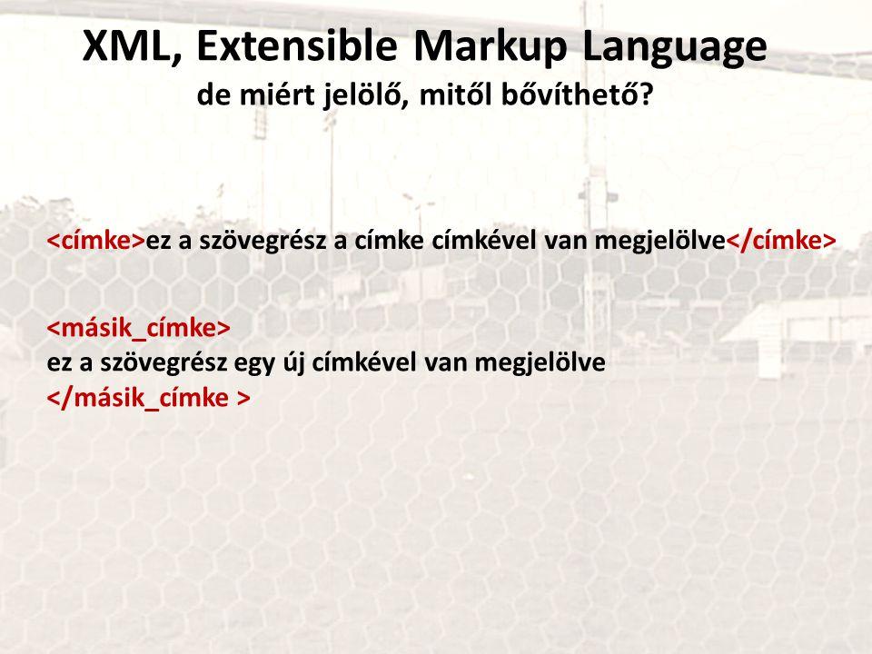 XML, Extensible Markup Language de miért jelölő, mitől bővíthető? ez a szövegrész a címke címkével van megjelölve ez a szövegrész egy új címkével van