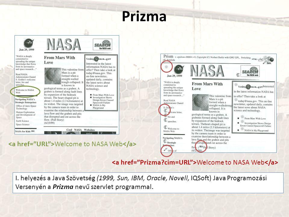 Prizma I. helyezés a Java Szövetség (1999, Sun, IBM, Oracle, Novell, IQSoft) Java Programozási Versenyén a Prizma nevű szervlet programmal. Welcome to