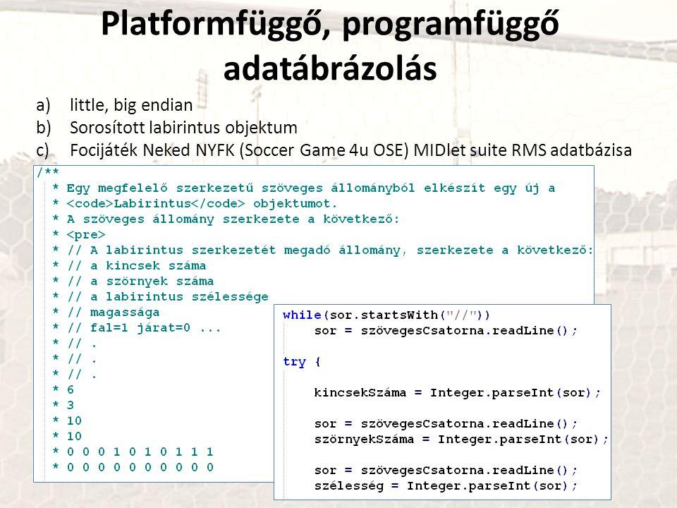 Platformfüggő, programfüggő adatábrázolás a)little, big endian b)Sorosított labirintus objektum c)Focijáték Neked NYFK (Soccer Game 4u OSE) MIDlet sui