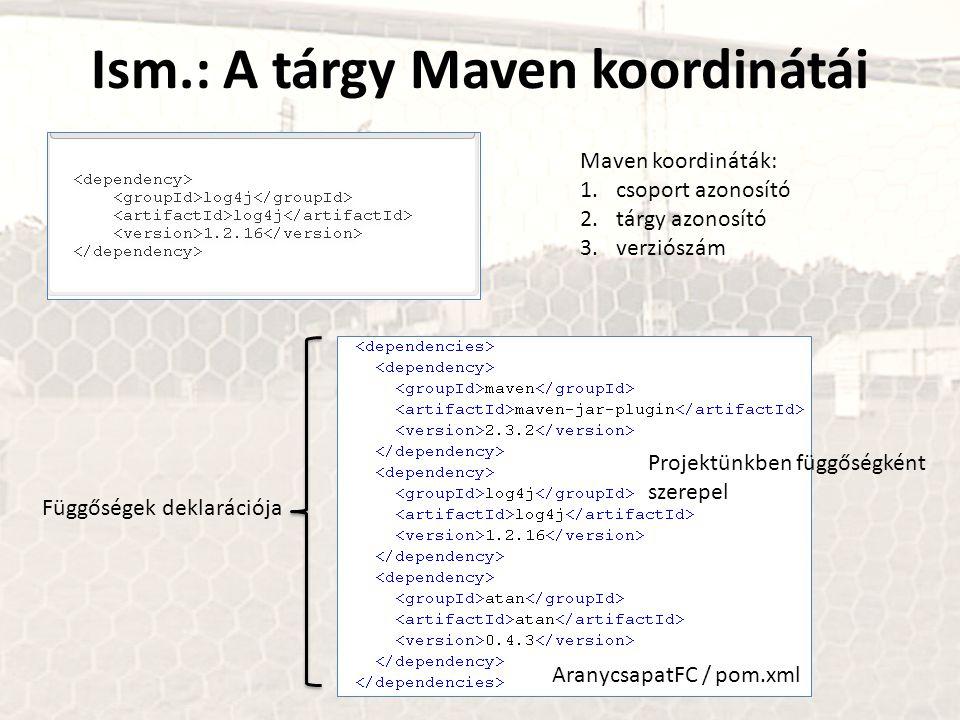 Ism.: A tárgy Maven koordinátái Maven koordináták: 1.csoport azonosító 2.tárgy azonosító 3.verziószám AranycsapatFC / pom.xml Projektünkben függőségké