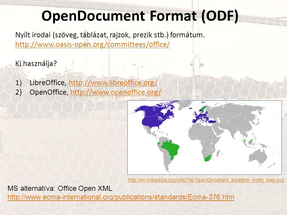 OpenDocument Format (ODF) Nyílt irodai (szöveg, táblázat, rajzok, prezik stb.) formátum. http://www.oasis-open.org/committees/office/ Ki használja? 1)