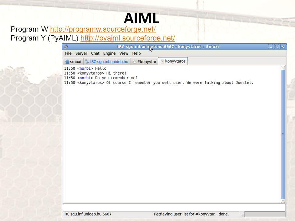 Program W http://programw.sourceforge.net/http://programw.sourceforge.net/ Program Y (PyAIML) http://pyaiml.sourceforge.net/http://pyaiml.sourceforge.
