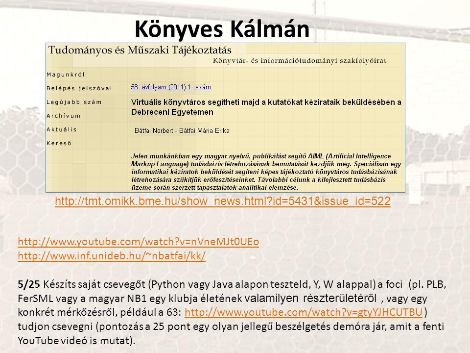 Könyves Kálmán http://tmt.omikk.bme.hu/show_news.html?id=5431&issue_id=522 http://www.youtube.com/watch?v=nVneMJt0UEo http://www.inf.unideb.hu/~nbatfa