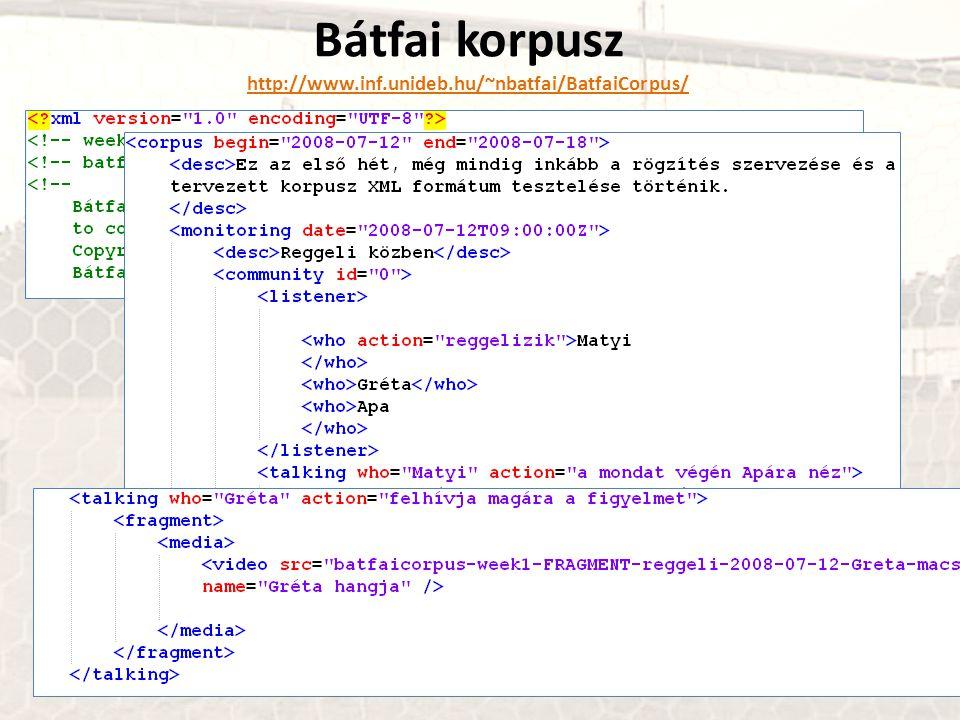 Bátfai korpusz http://www.inf.unideb.hu/~nbatfai/BatfaiCorpus/ http://www.inf.unideb.hu/~nbatfai/BatfaiCorpus/