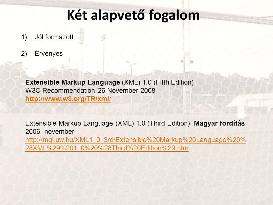 Két alapvető fogalom 1)Jól formázott 2)Érvényes Extensible Markup Language (XML) 1.0 (Fifth Edition) W3C Recommendation 26 November 2008 http://www.w3