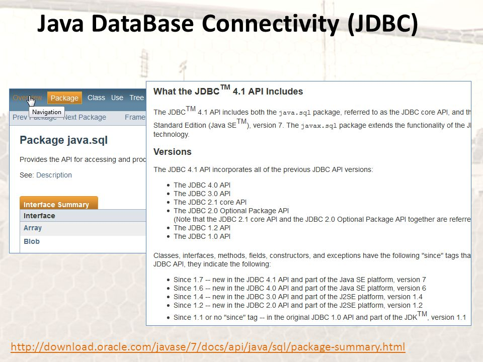 Java DataBase Connectivity (JDBC) http://download.oracle.com/javase/7/docs/api/java/sql/package-summary.html