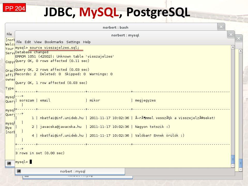 JDBC, MySQL, PostgreSQL PP 204