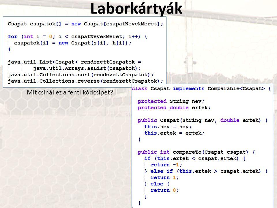 Laborkártyák Mit csinál ez a fenti kódcsipet?
