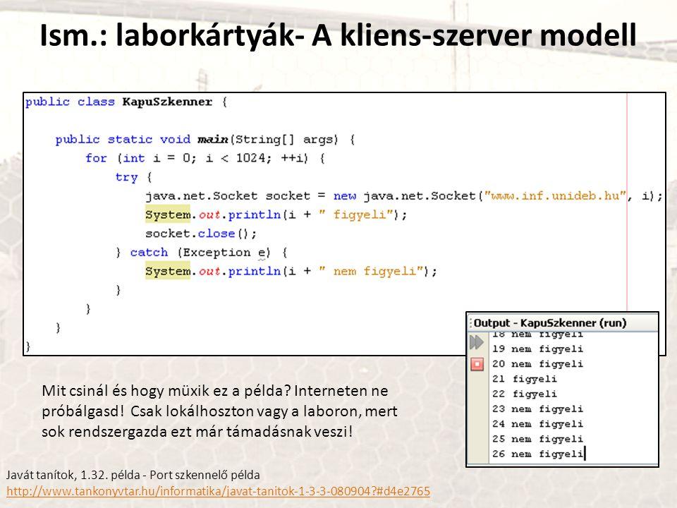 Ism.: laborkártyák- A kliens-szerver modell Mit csinál és hogy müxik ez a példa? Interneten ne próbálgasd! Csak lokálhoszton vagy a laboron, mert sok