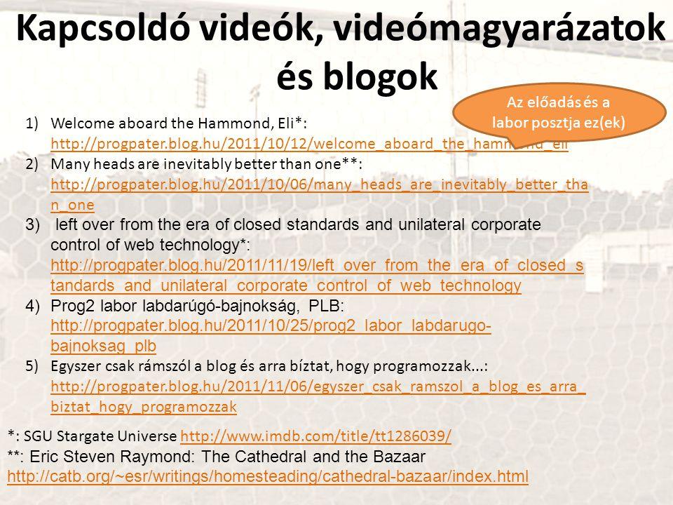 Kapcsoldó videók, videómagyarázatok és blogok 1)Welcome aboard the Hammond, Eli*: http://progpater.blog.hu/2011/10/12/welcome_aboard_the_hammond_eli h