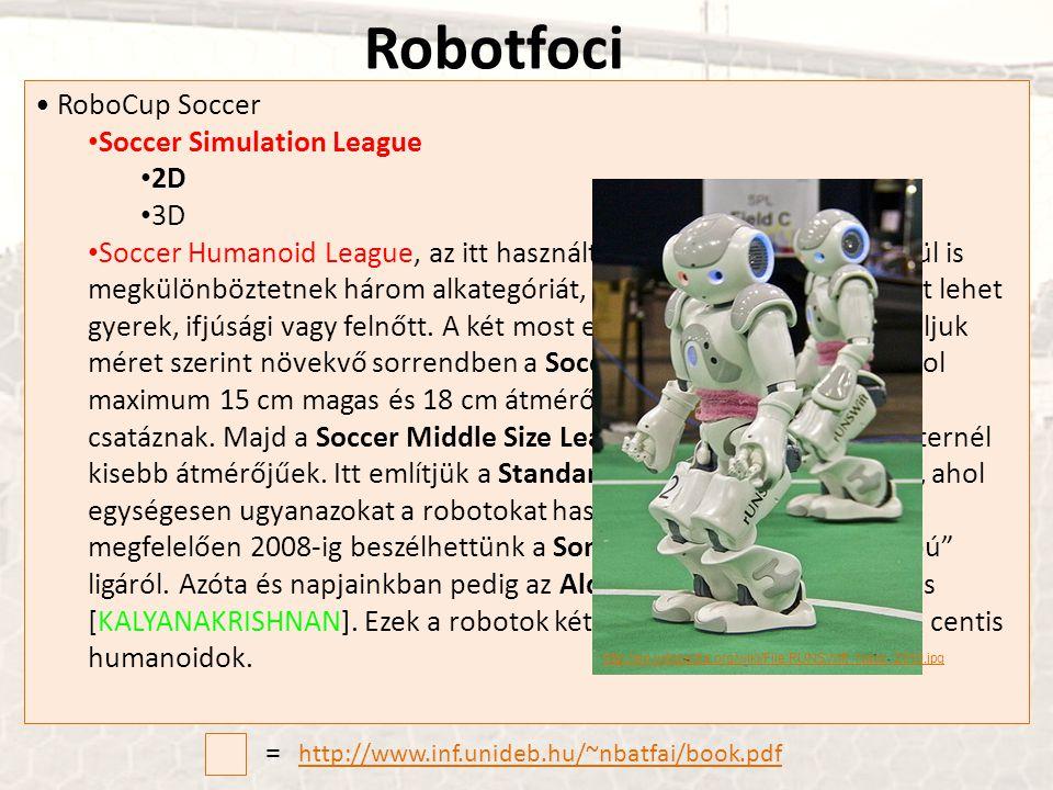 • RoboCup Soccer • Soccer Simulation League • 2D • 3D • Soccer Humanoid League, az itt használt humaniod robotokon belül is megkülönböztetnek három al