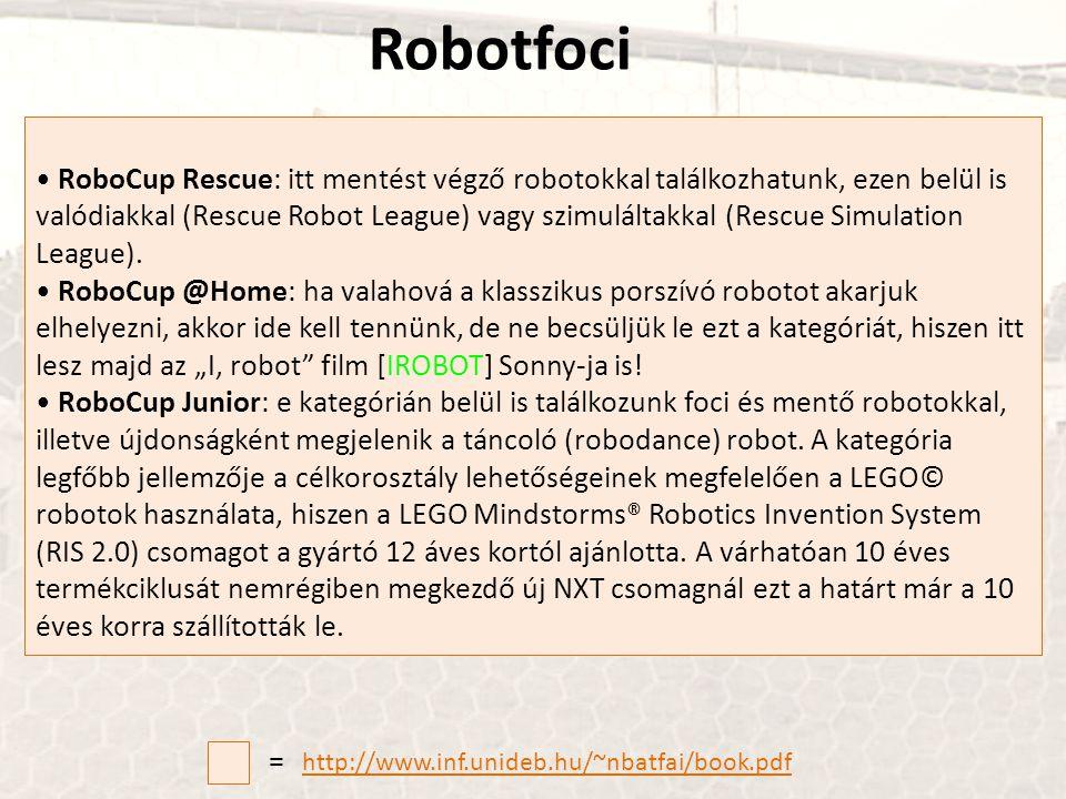 • RoboCup Rescue: itt mentést végző robotokkal találkozhatunk, ezen belül is valódiakkal (Rescue Robot League) vagy szimuláltakkal (Rescue Simulation