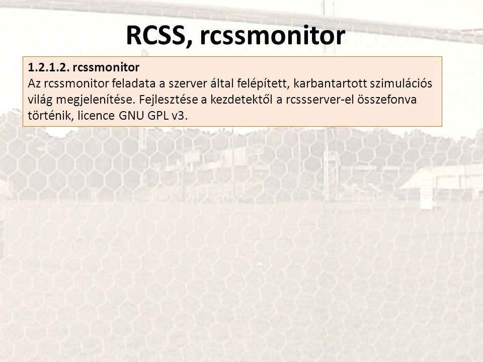 RCSS, rcssmonitor 1.2.1.2. rcssmonitor Az rcssmonitor feladata a szerver által felépített, karbantartott szimulációs világ megjelenítése. Fejlesztése