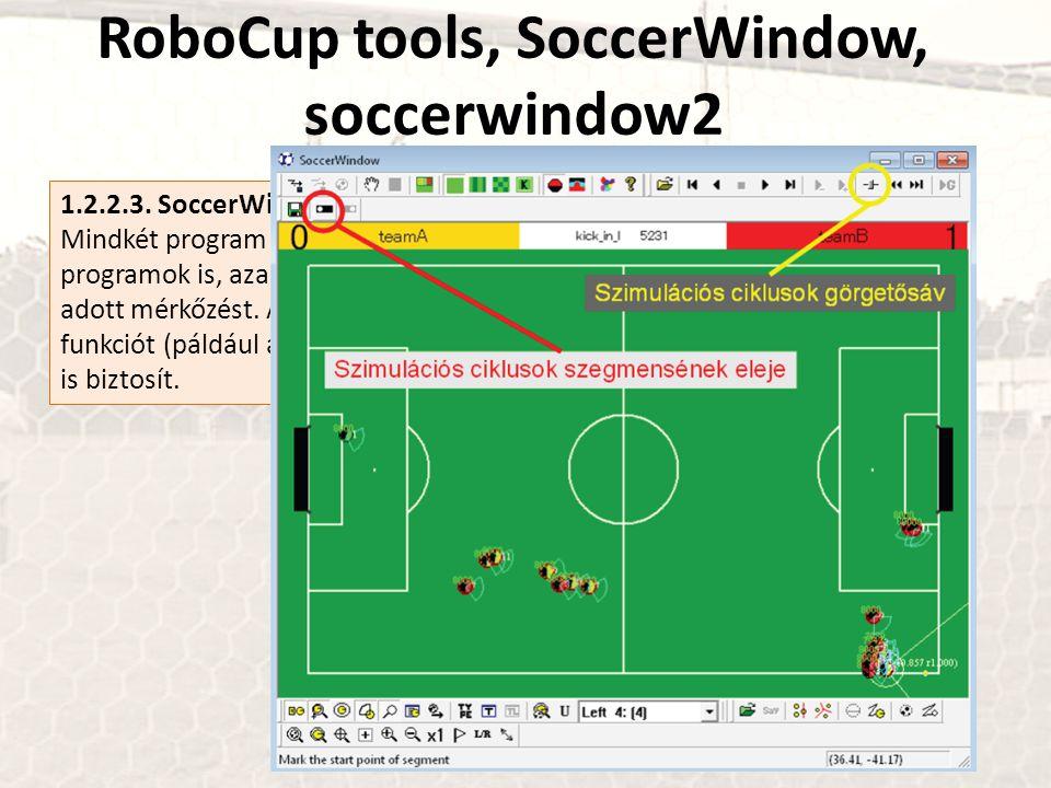 RoboCup tools, SoccerWindow, soccerwindow2 1.2.2.3. SoccerWindow és soccerwindow2 Mindkét program a robotfoci megjelenítését végzi, s egyben rcsslogpl