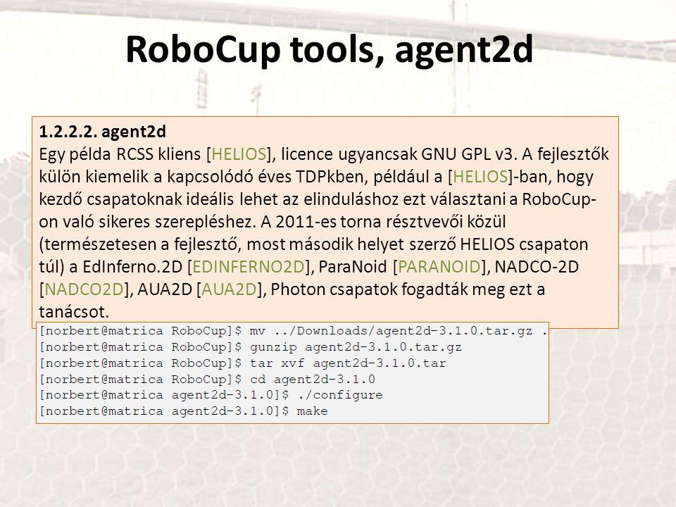 RoboCup tools, agent2d 1.2.2.2. agent2d Egy példa RCSS kliens [HELIOS], licence ugyancsak GNU GPL v3. A fejlesztők külön kiemelik a kapcsolódó éves TD