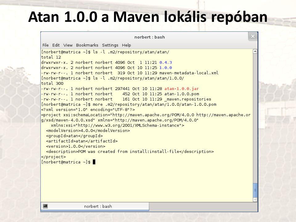 Atan 1.0.0 a Maven lokális repóban