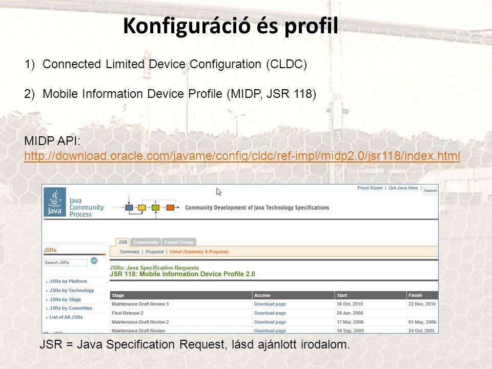 Konfiguráció és profil 1)Connected Limited Device Configuration (CLDC) 2)Mobile Information Device Profile (MIDP, JSR 118) JSR = Java Specification Re