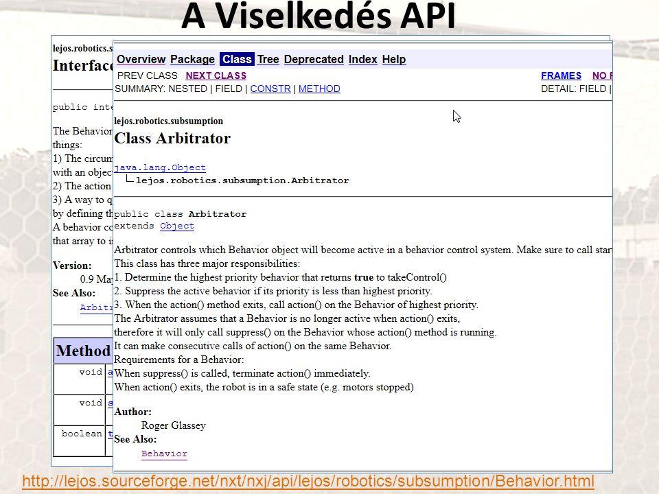 A Viselkedés API http://lejos.sourceforge.net/nxt/nxj/api/lejos/robotics/subsumption/Behavior.html