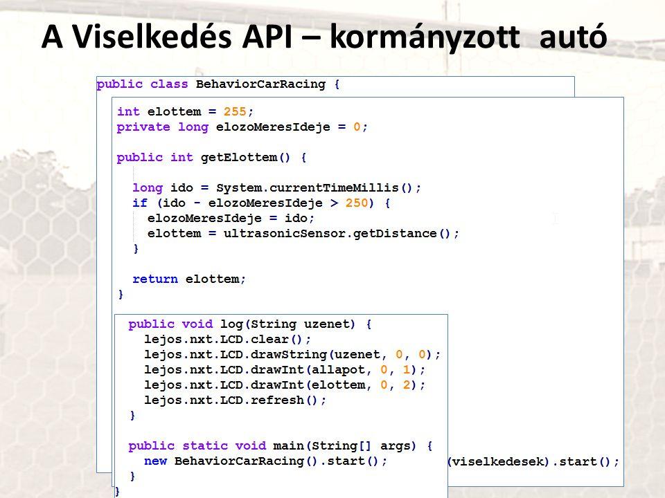 A Viselkedés API – kormányzott autó