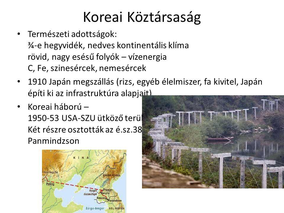 Koreai Köztársaság • Természeti adottságok: ¾-e hegyvidék, nedves kontinentális klíma rövid, nagy esésű folyók – vízenergia C, Fe, szinesércek, nemesé
