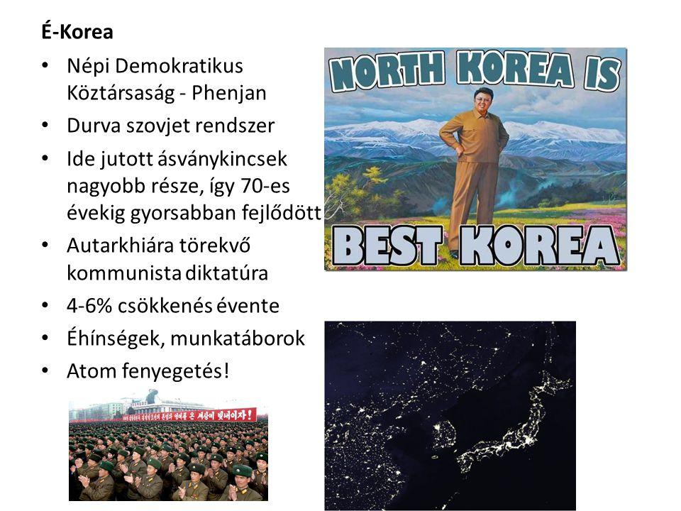 É-Korea • Népi Demokratikus Köztársaság - Phenjan • Durva szovjet rendszer • Ide jutott ásványkincsek nagyobb része, így 70-es évekig gyorsabban fejlő