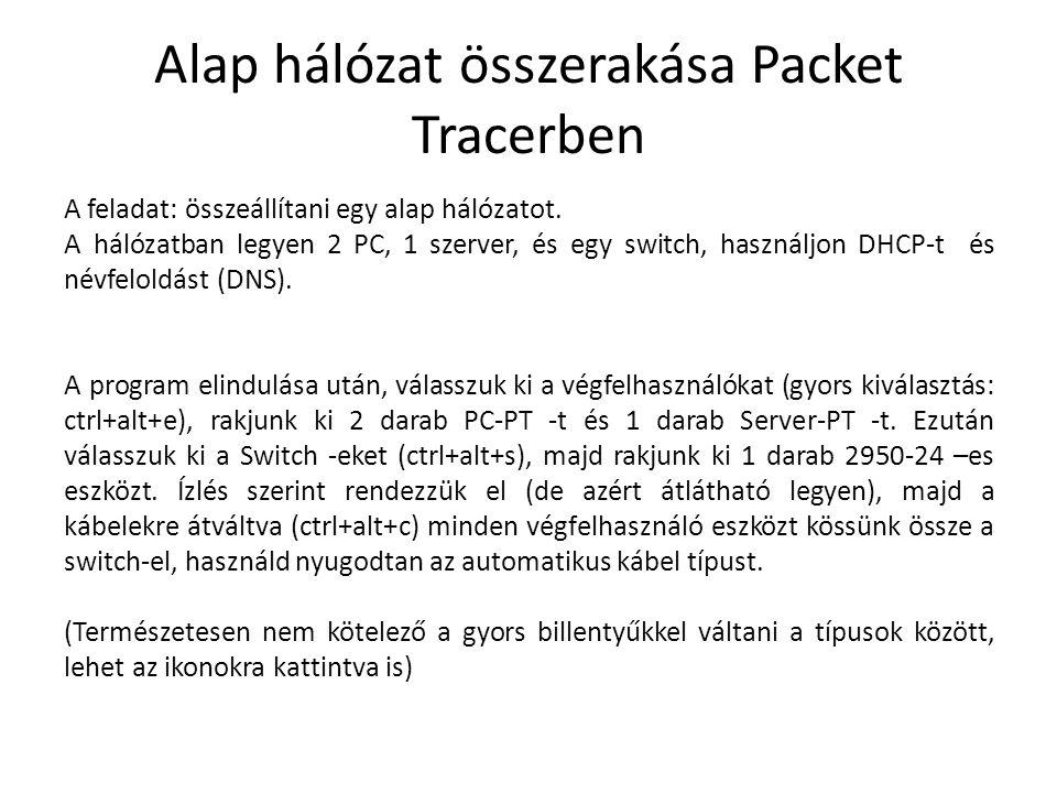 Alap hálózat összerakása Packet Tracerben A feladat: összeállítani egy alap hálózatot. A hálózatban legyen 2 PC, 1 szerver, és egy switch, használjon
