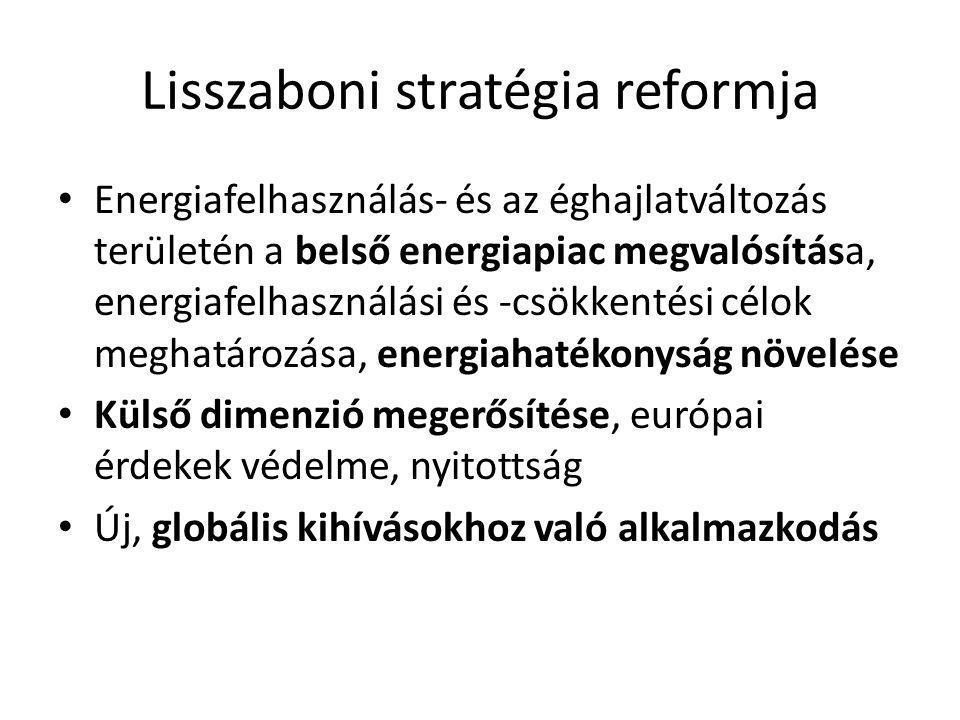 Lisszaboni stratégia reformja • Energiafelhasználás- és az éghajlatváltozás területén a belső energiapiac megvalósítása, energiafelhasználási és -csökkentési célok meghatározása, energiahatékonyság növelése • Külső dimenzió megerősítése, európai érdekek védelme, nyitottság • Új, globális kihívásokhoz való alkalmazkodás