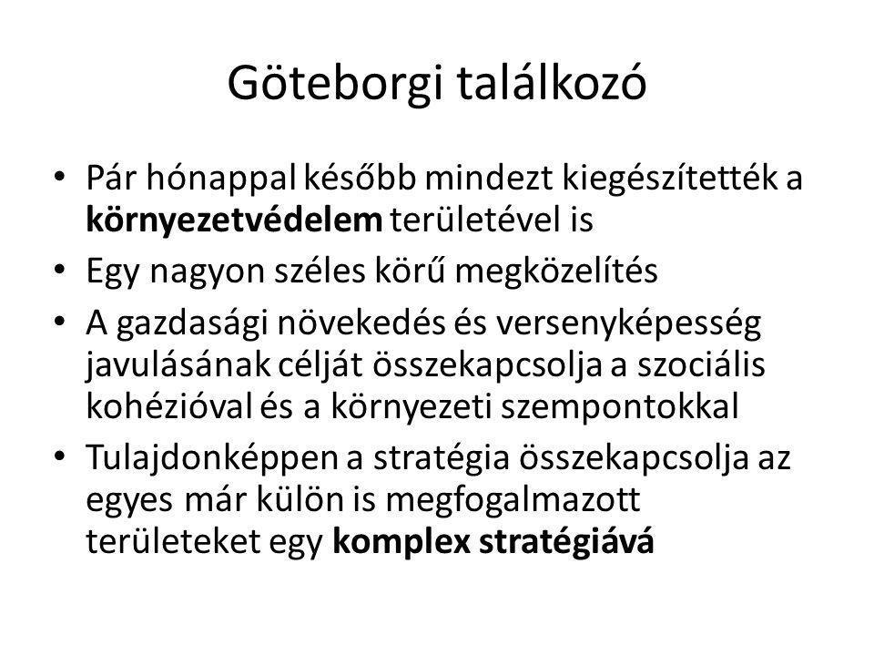 Göteborgi találkozó • Pár hónappal később mindezt kiegészítették a környezetvédelem területével is • Egy nagyon széles körű megközelítés • A gazdasági növekedés és versenyképesség javulásának célját összekapcsolja a szociális kohézióval és a környezeti szempontokkal • Tulajdonképpen a stratégia összekapcsolja az egyes már külön is megfogalmazott területeket egy komplex stratégiává