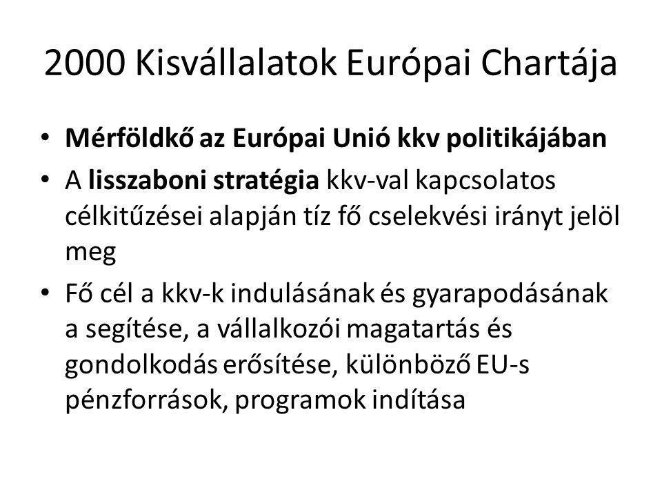 2000 Kisvállalatok Európai Chartája • Mérföldkő az Európai Unió kkv politikájában • A lisszaboni stratégia kkv-val kapcsolatos célkitűzései alapján tíz fő cselekvési irányt jelöl meg • Fő cél a kkv-k indulásának és gyarapodásának a segítése, a vállalkozói magatartás és gondolkodás erősítése, különböző EU-s pénzforrások, programok indítása