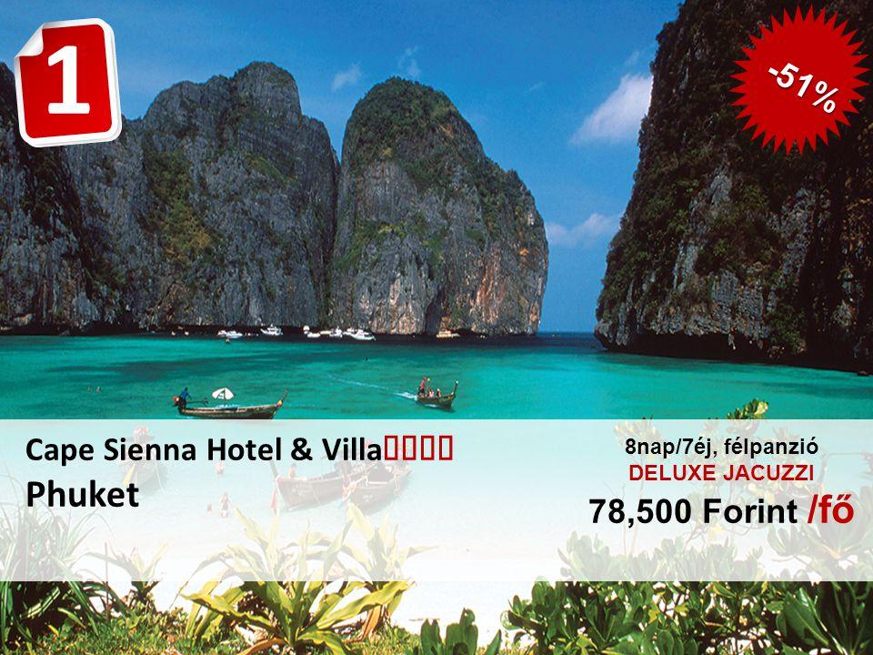 Cape Sienna Hotel & Villa  Phuket 8nap/7éj, félpanzió DELUXE JACUZZI 78,500 Forint /fő 1 -51%