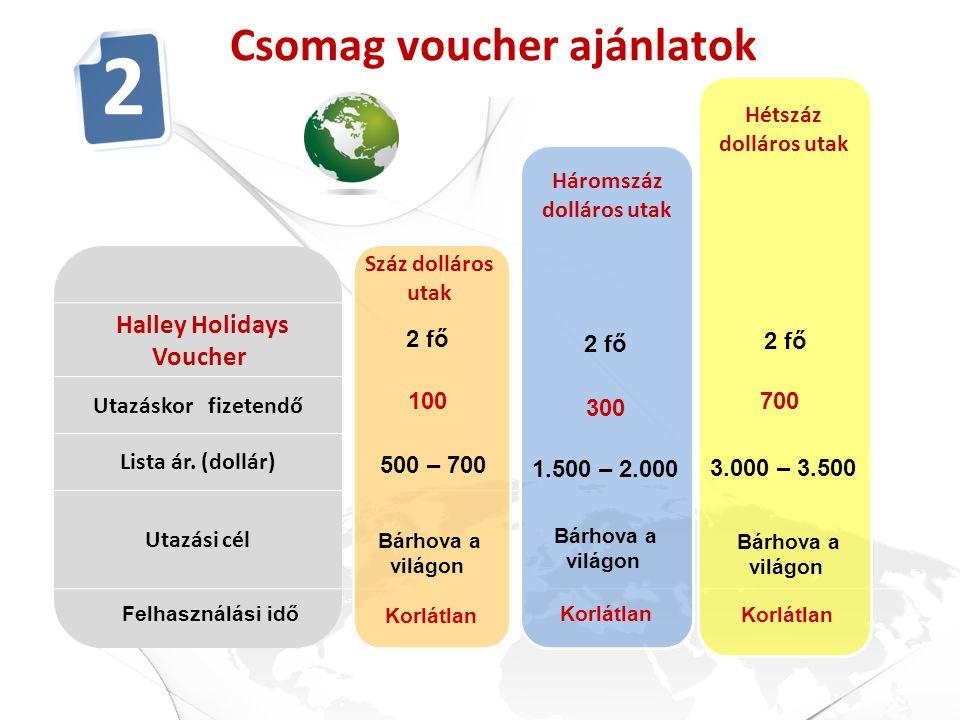 4 éves Örök Életes Halley Holidays Voucher Utazáskor fizetendő Lista ár. (dollár) Utazási cél Csomag voucher ajánlatok Hétszáz dolláros utak 2 fő 700